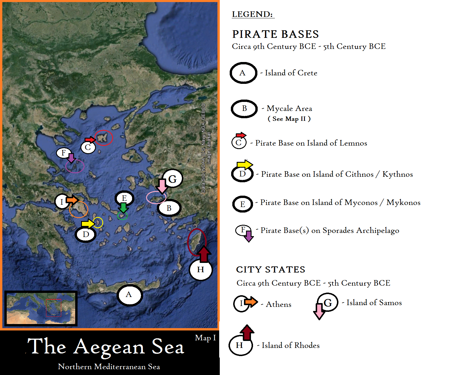 Locations of Greek City States as well as Pirate Bases