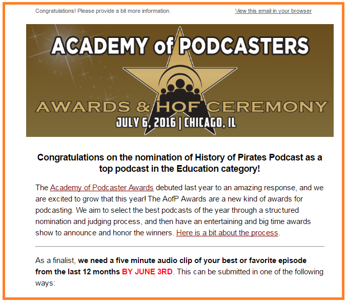Academy of Podcasters awards